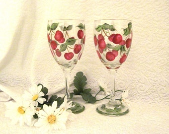 Cherries hand painted on set of two wine glasses