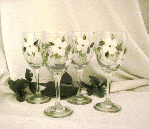 Dogwood blossoms hand painted on set of four wine glasses