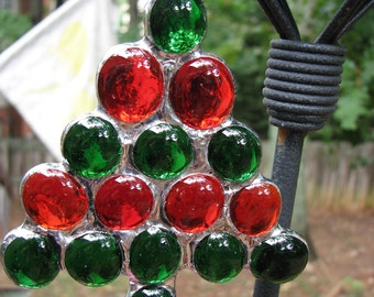Glass Nugget Tree  - Green, Red
