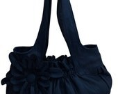 Sale.. Faux Leather Purse / Handbag / Shoulder Bag with Stylish Flower Applique - Dark Blue, Pleated with Double Straps - 30% Off