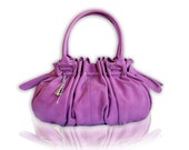 Large Handbag / Shoulder Bag / Purse made from Supple Faux Leather with Pleats and Double Straps in Purple