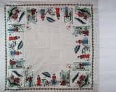 Vintage Picnic Summer Time Tablecloth Croquet Game Antique Bicycle Phone Call