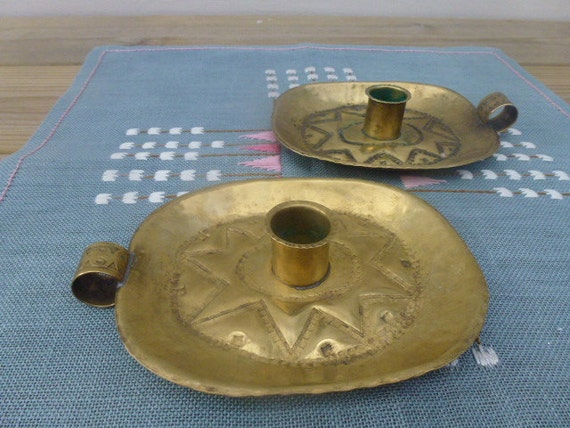 50 % OFF Vintage Swedish brass candle holders / Signed handicraft