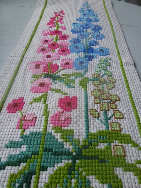 Vintage Swedish wall hanging / Cross stitched flowers