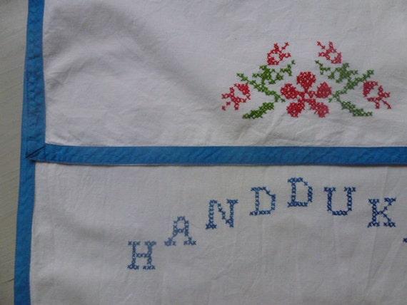 Vintage Swedish linen kitchen towel cover / Cross stitched
