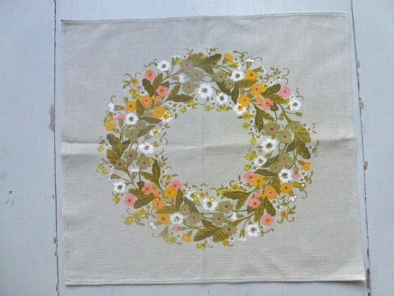 ON HOLD ///////////////// Vintage Swedish tablecloth / Small printed tablecloth