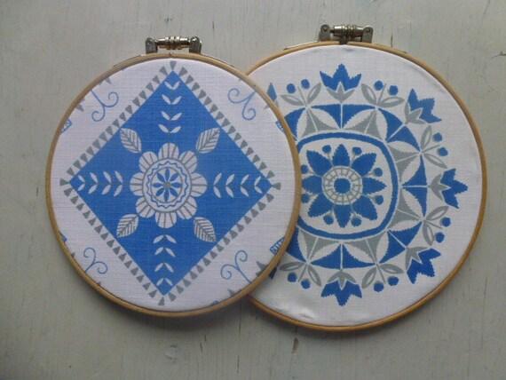ON HOLD ///////////// Vintage Swedish fabric hoop art
