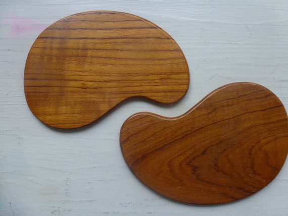Vintage Swedish teak coasters / Set of 2