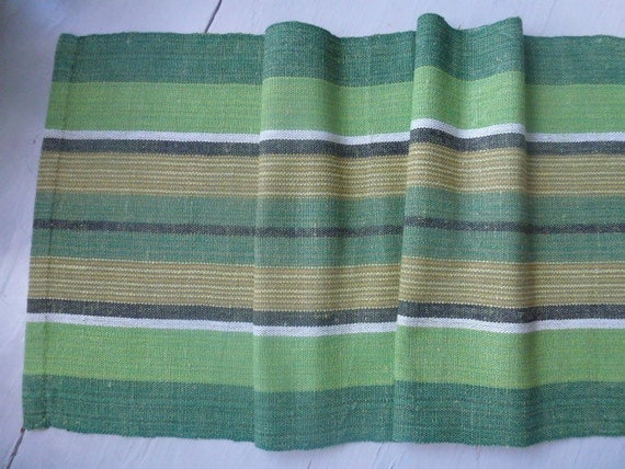 Vintage Swedish tablecloth / Green table runner