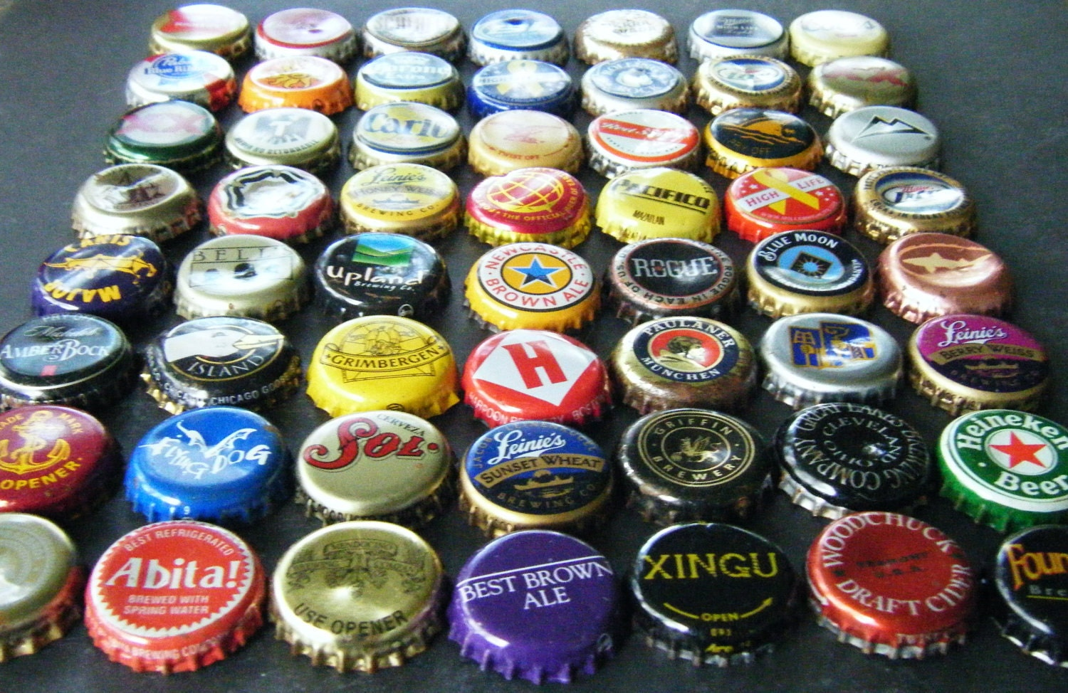 used beer bottle caps lot of 50 large variety