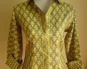 Mustard green silk shirt