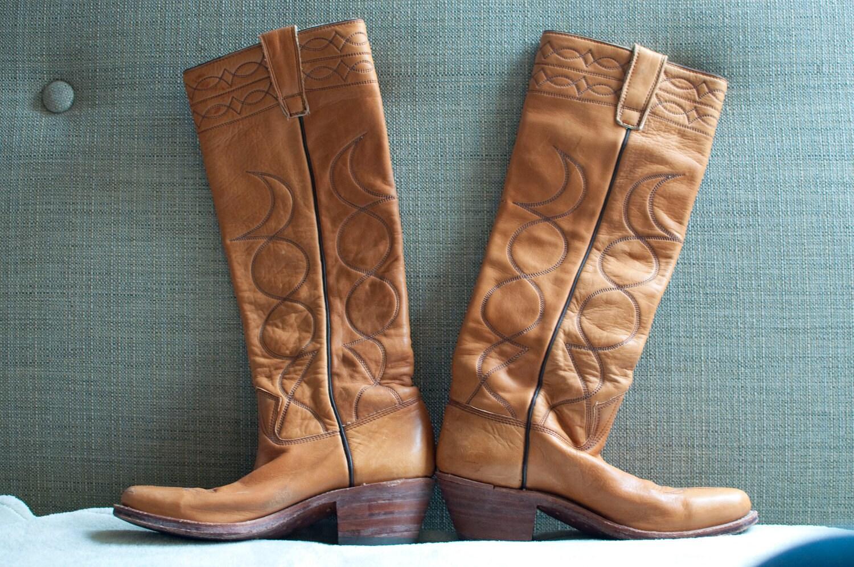 SIZE 6 1977 Stewart Western knee high cowboy boots