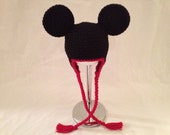 Crochet Disney Mickey Mouse Inspired Ear Flap Hat (Made to Order)