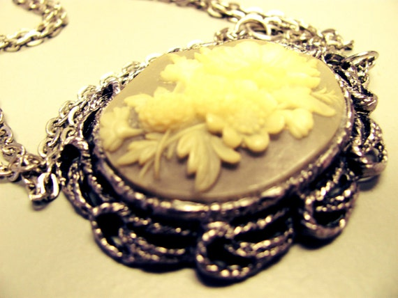 Grey and Cream Floral Cameo Necklace