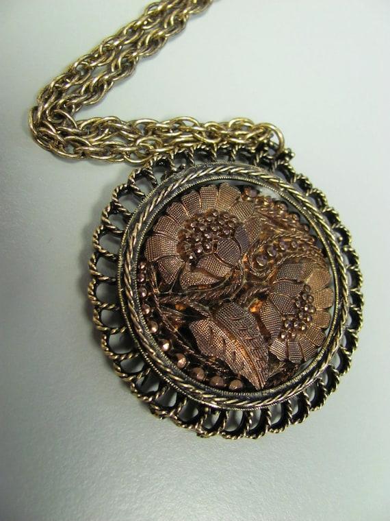 Vintage Romantic Bronze/ Gold Necklace/ Pendant