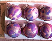 6 Reverse Painted Ornaments - Price Slashed