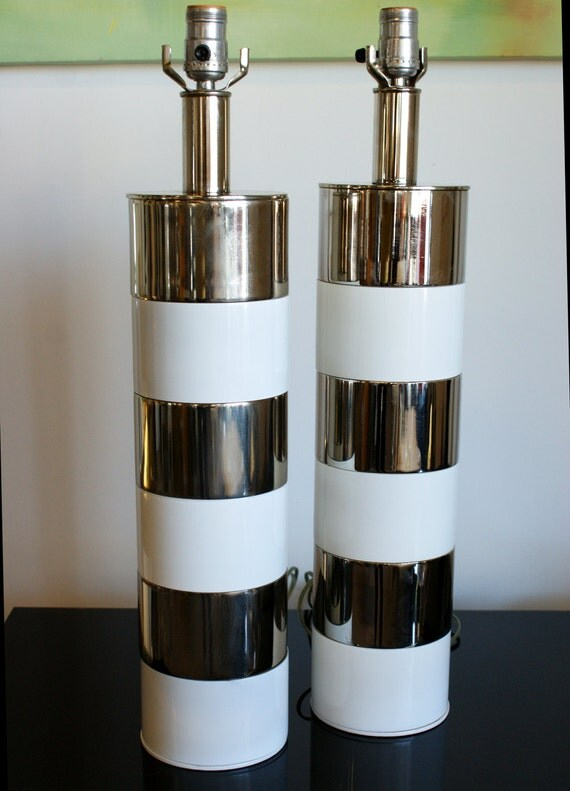 Mid Century Modern Chrome and White Stripe Lamps Pair