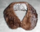 Mink Collar Vintage 1950s Med Brown - Mad Men