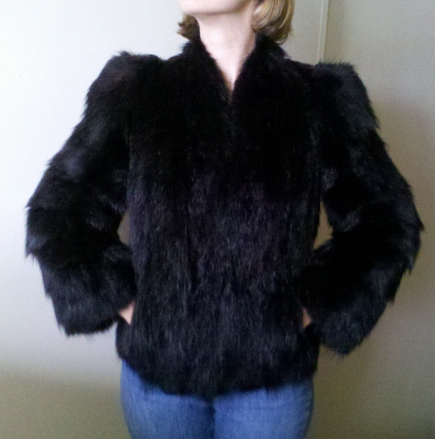 Black Bear Fur Coat Circa 1945 Modern Vintage by MyMothersStuff