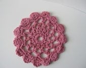 Crocheted Doily Coasters Dusty Rose pink handmade lace coasters for home decor : set of 6 cotton coasters