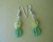 Earrings, Yellow and Green beads