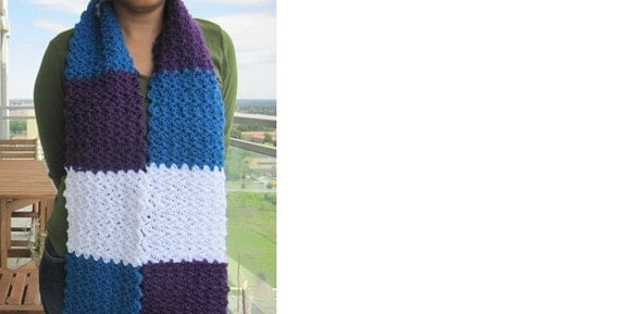 Crocheted Purple, Blue and White scarf with a fringe