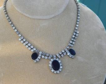 Unique Vintage Rhinestone and Black Onyx Necklace