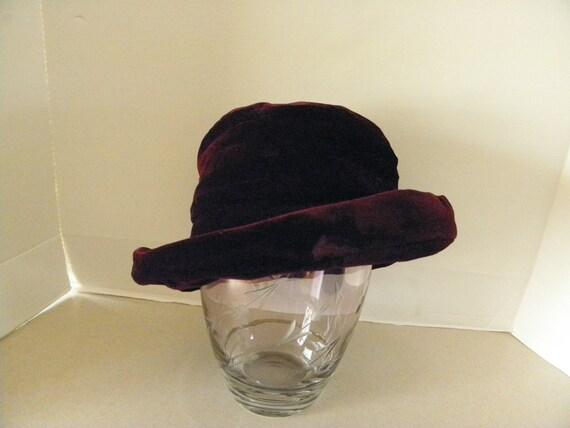 Vintage Burgandy Velvet Plush Hat