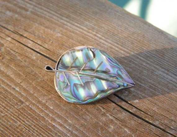 Beautiful Antique Estate Sterling Silver Abalone Pin