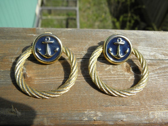 Fabulous Large Clip Sailor Anchor and Rope Earrings