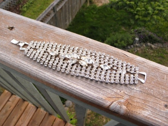 Vintage Stunning Juliana or Eisenberg Sparkling Ice Wide Rhinestone Bracelet  WEDDINGs