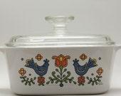 Vintage Corning Ware Pyrex Casserole Bakeware Dish Blue Birds