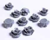 10mm Grey rose cabochons - 10mm gray resin cabochons - 10mm rosebud cabochon - 3D cabochons (088) - Flat rate shipping