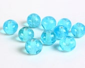 Dollar Sale Clearance - Spotted blue white round glass bead 8mm 10pc  (018)