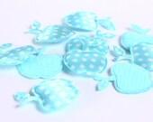 Dollar Sale Clearance - Baby blue apple polka dots applique satin felt 17x21mm 10pc (164) - SALE