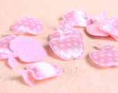 Dollar Sale Clearance - Pink apple applique polka dots satin felt 17x21mm 10pc (167) - SALE