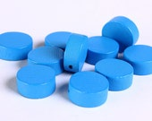 13mm Blue wood beads - 13mm large lens beads - 13mm disk bead - 10 pieces (273) - Flat rate shipping