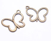 Sale Clearance 20% OFF - 12 Butterfly pendant antique brass nickel free lead free 19mm 12pcs (497)