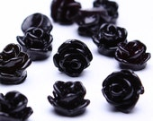 20 black resin tiny small rosebud rose flower cab cabochon 7.5mm 20pc (505) - Flat rate shipping