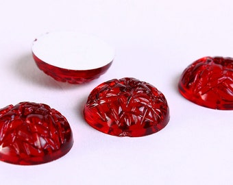 15mm Red baroque cabochons - 15mm siam texture cabochons - 15mm Baroque Jewels with Silver Foil - 4 pieces (127) - Flat rate shipping