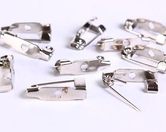15mm Dark silver Tone Brooch clasp - brooch pin backs - brooch blanks - brooch base - brooch back (177) - Flat rate shipping