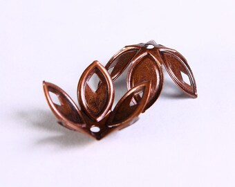 18mm antique copper bead caps - antique copper beadcaps - nickel free (227) - Flat rate shipping