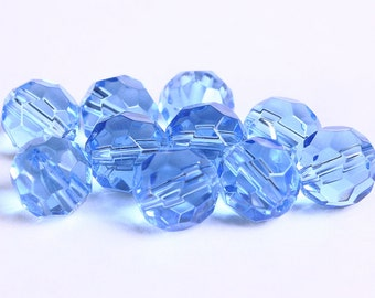 10mm Blue glass beads - Blue firepolish beads - Blue faceted round glass bead (238) - Flat rate shipping