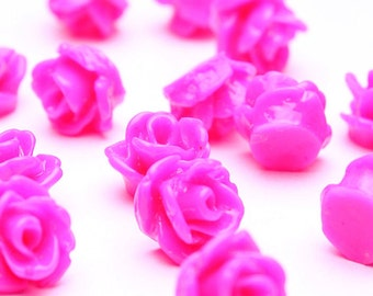 7.5mm hot pink flower cabochons - rosebud cabochons - resin cabochons - petite flower cabochons - 3d cabochons (503) - Flat rate shipping