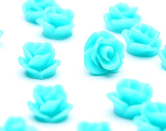 7.5mm Teal green flower cabochons - Teal green rosebud cabochons - Teal green rose cabochons - 20 pieces (514) - Flat rate shipping