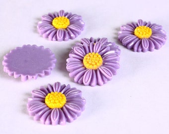 Sale Clearance 20% OFF - 6pc 27mm lucite rose resin flower cab cabochon daisy deep purple 6 (627)