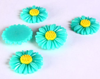 6pc 27mm lucite rose resin flower cab cabochon daisy sea green 6 (631) - Flat rate shipping