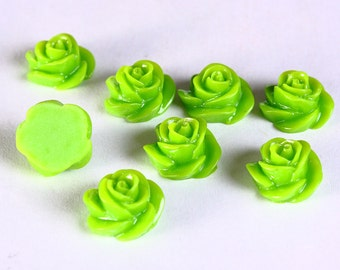8 Green rosebud rose cabochon 13mm 8pc (661) - Flat rate shipping