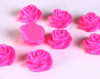 8 13mm Hot pink fuschia rosebud rose cabochon cab 8pc (668) - Flat rate shipping