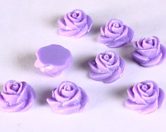 8 13mm Purple violet mauve rosebud rose cabochon cab with glitter 8pc (669) - Flat rate shipping